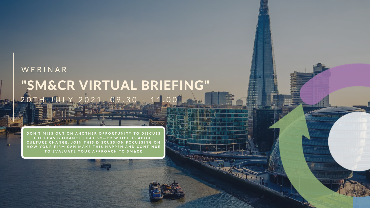 Londons financial district overlooking the Tha3mes River overwritten with the webinar title